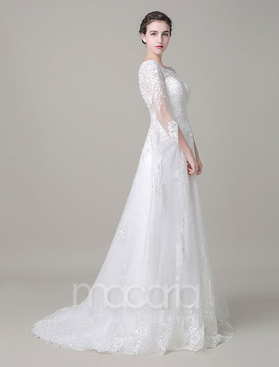 Illusion Sleeves Beaded Lace Tulle Wedding Dress - Macaria Wedding