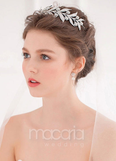 Silver Rhinestone Flower Wedding Tiara
