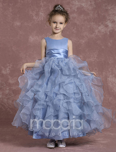 Sleeveless Ball Gown Tiered Organza Ankle Length Flower Girl Dress