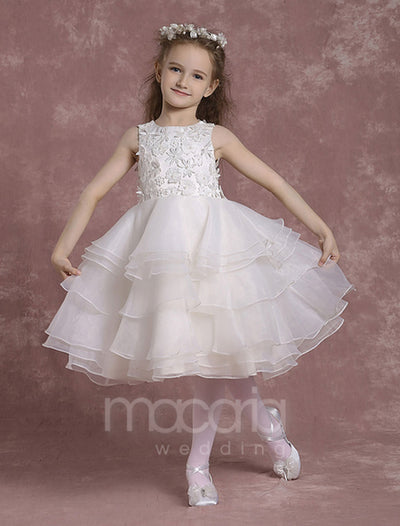 Illusion Back Tiered Organza Flower Girl Dress - Macaria Wedding