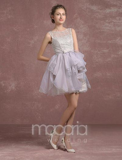 Lace Bodice Tiered Organza Short Dress - Macaria Wedding
