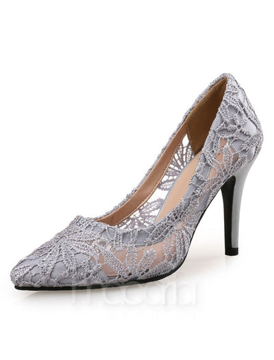 Lace Pointed Toe High Heel Pumps - Macaria Wedding