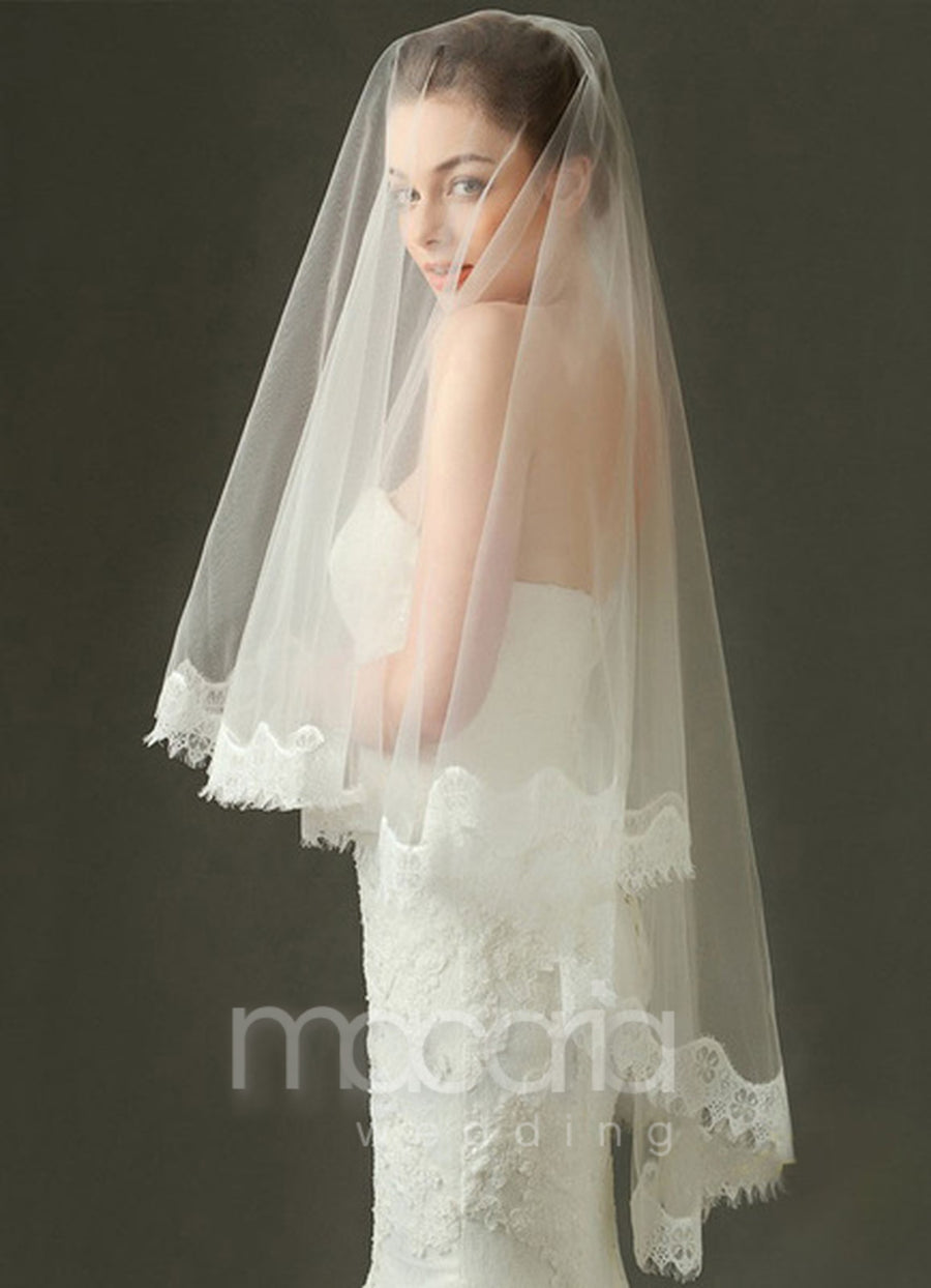 Lace Applique Edge 2-Tier Tulle Oval Bridal Veil - Macaria Wedding