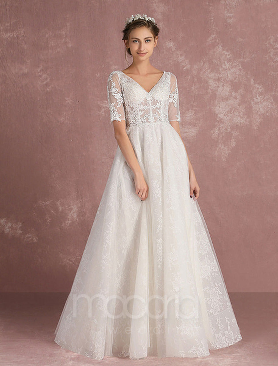 Wedding Dresses - V-Neck Lace Applique Illusion | Macaria Wedding