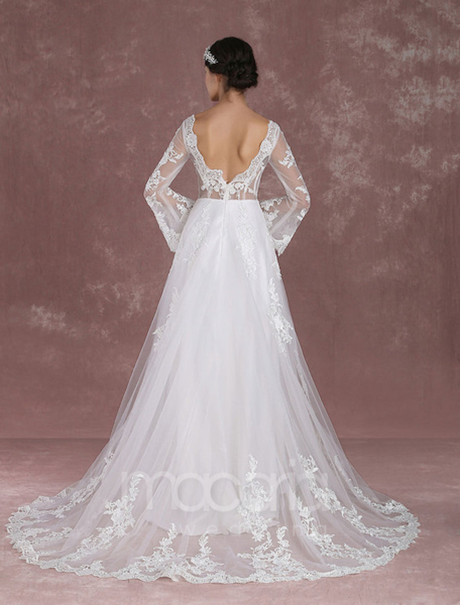 Bell Sleeve Illusion Wedding Dress - Macaria Wedding