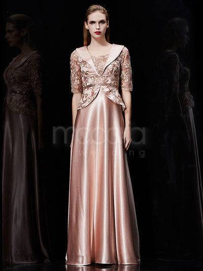 Half Sleeves Embroidery Satin Evening Dress - Macaria Wedding