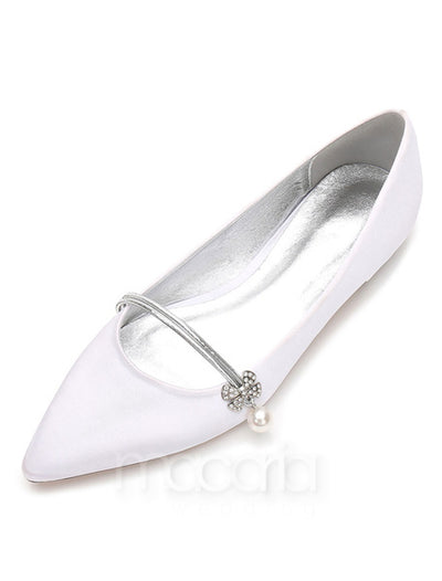 Rhinestone Embellished Satin Pointed Toe Flat - Macaria Wedding