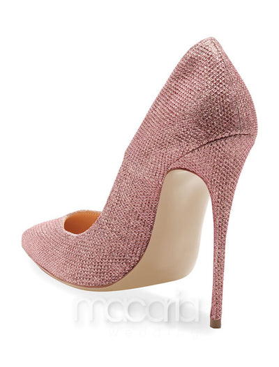 Pink Sequined Pointed Toe Pumps - Macaria Wedding
