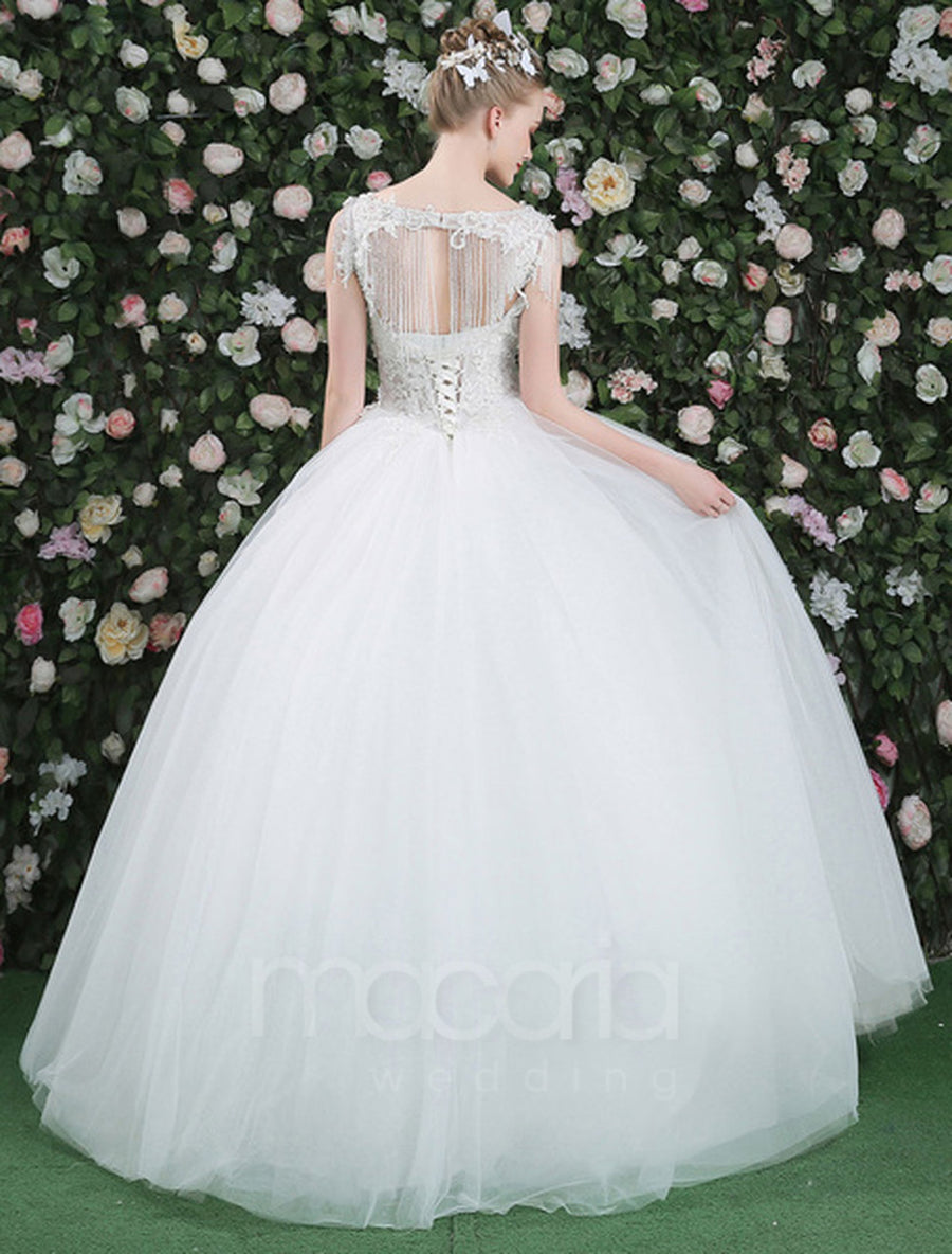 Lace Bodice Tulle Ball Gown Wedding Dress - Macaria Wedding