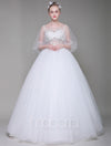 Sheer Bodice Tulle Illusion Wedding Dress - Macaria Wedding
