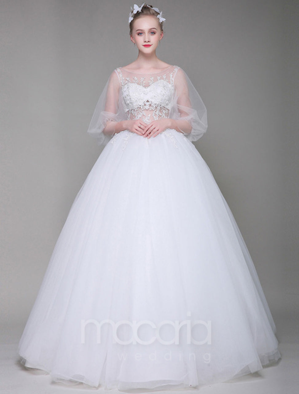Wedding Dresses - Illusion Princess Ball Gown | Macaria Wedding
