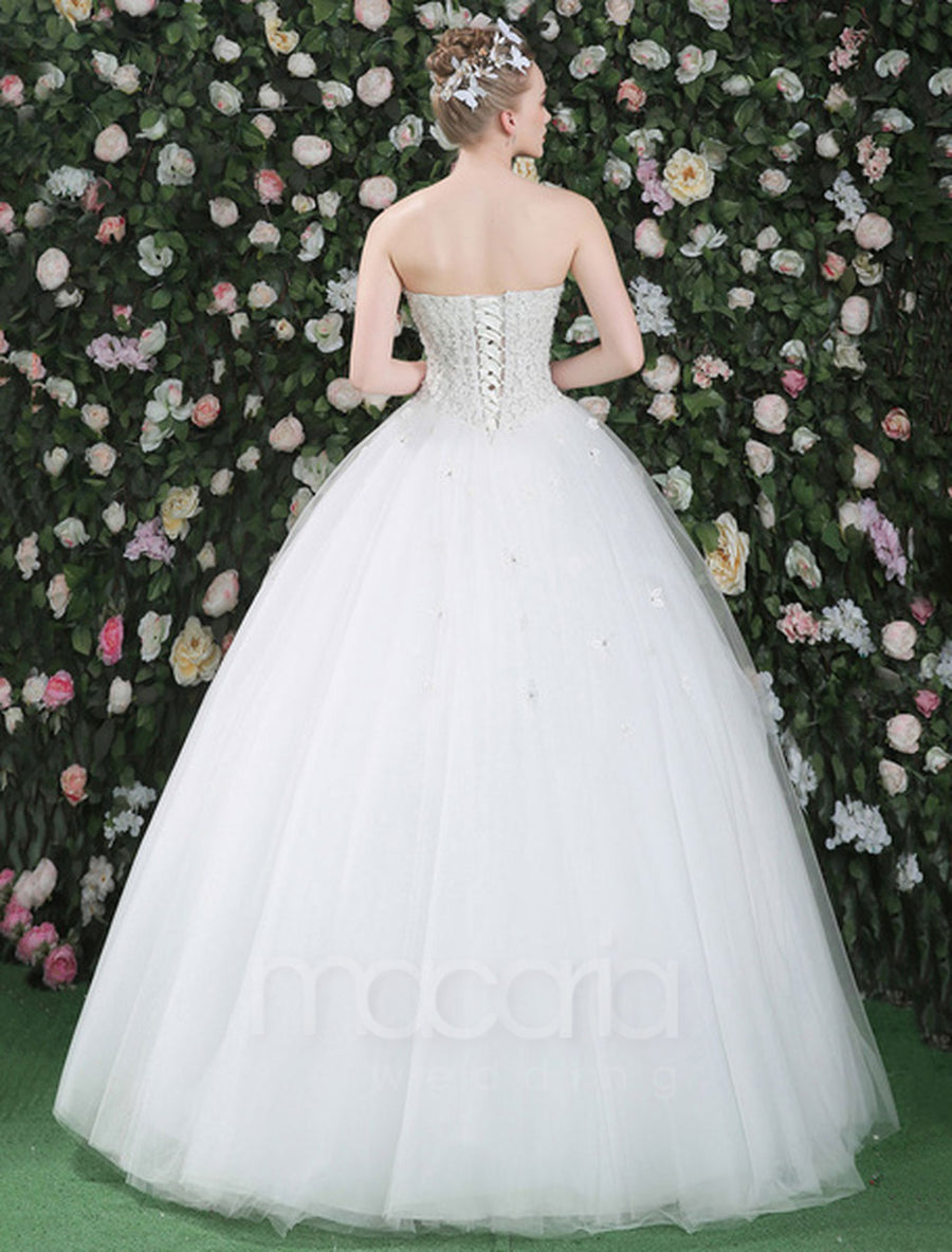 Sweetheart Lace Flower Applique Floor Length Tulle Bridal Wedding Dress