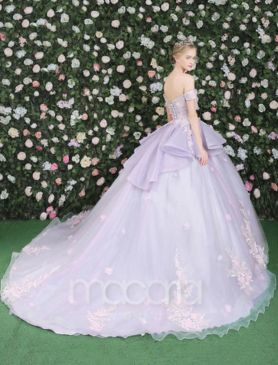 Off the Flower Ball Gown Floral Tulle Evening Dress - Macaria Wedding