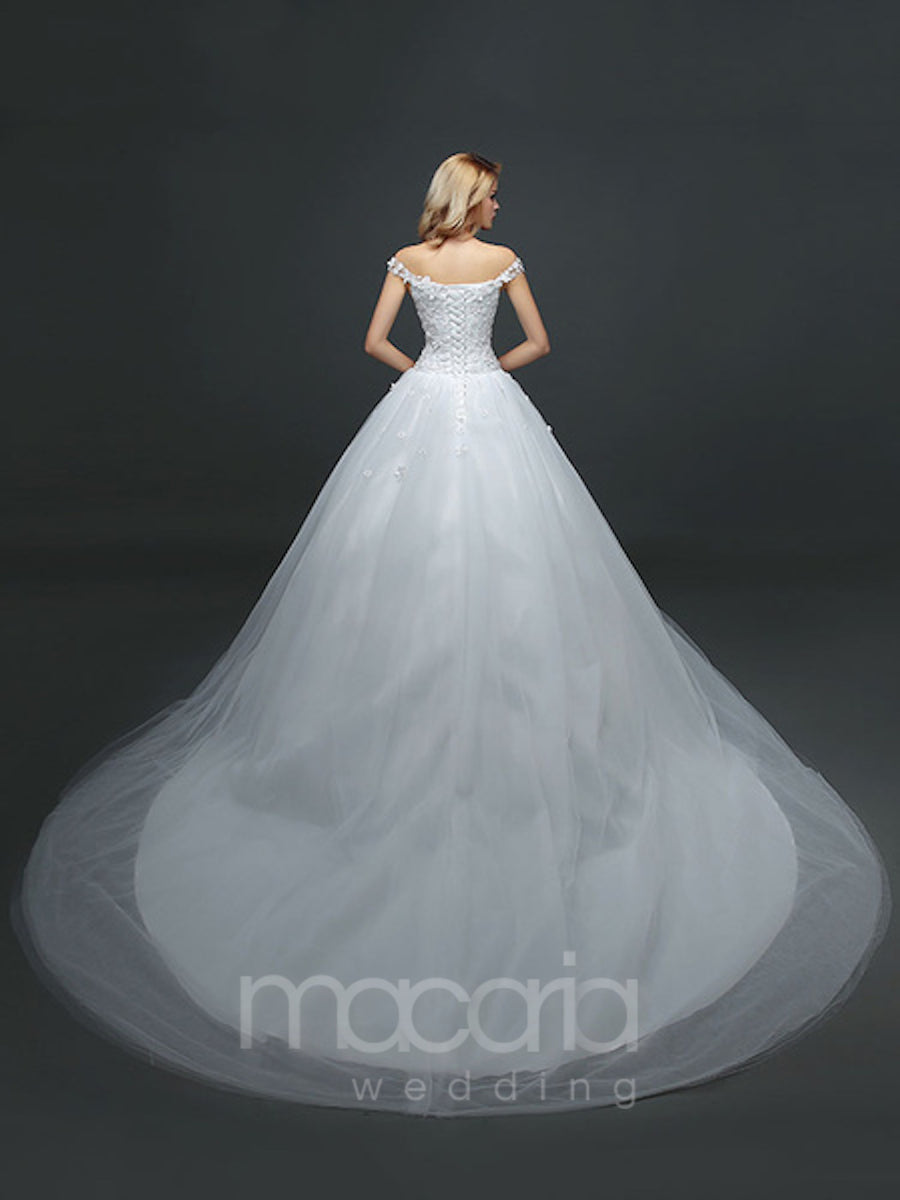 Flower Applique Tulle Off the Shoulder Wedding Dress - Macaria Wedding
