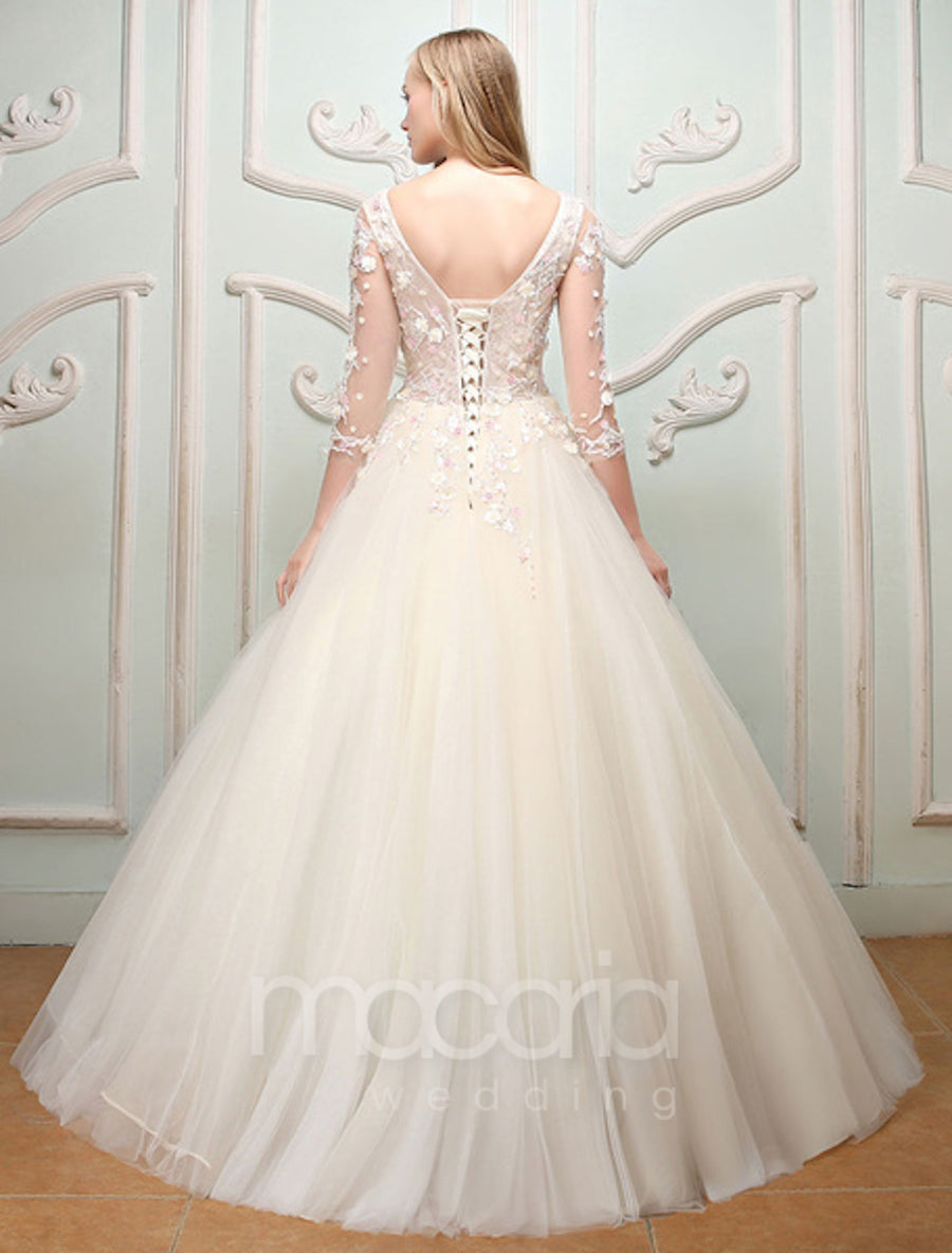 Illusion Sheer Sleeves Tulle Wedding Dress - Macaria Wedding