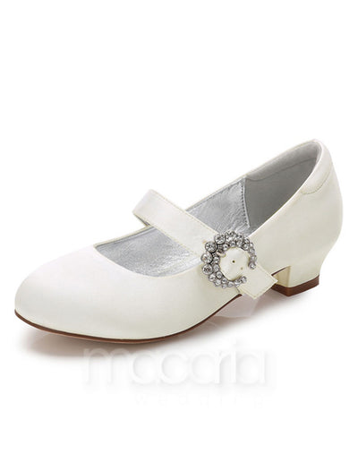 Girls Rhinestone Embellished Mary Jane Shoes - Macaria Wedding