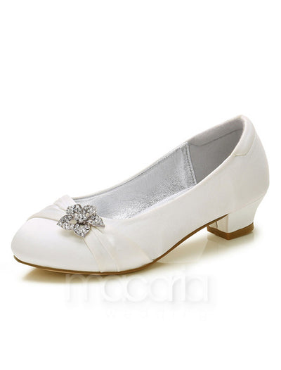 Girls Rhinestone Embellished Pleated Satin Pumps - Macaria Wedding