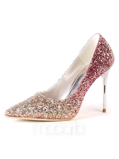 Pointed Toe Sequined Stiletto Heels - Macaria Wedding