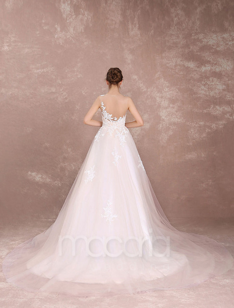 Illusion Sweetheart Lace Tulle Wedding Dress - Macaria Wedding
