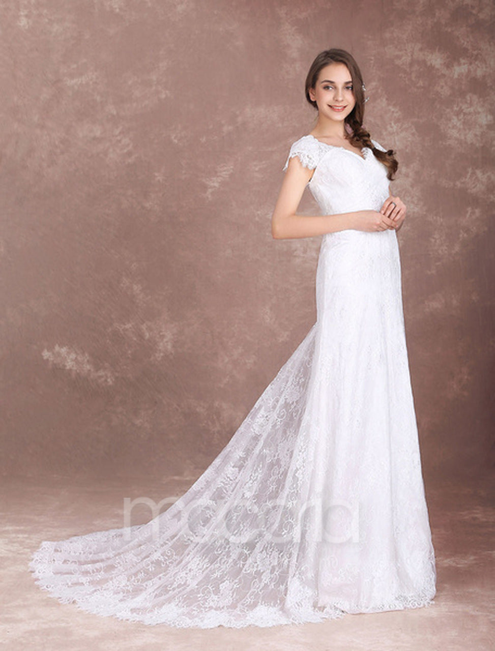 17a26eead00 Wedding Dresses - Short Sleeve V-Neck Lace Trumpet