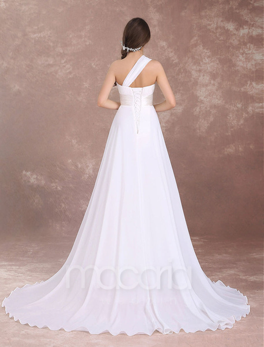 One Shoulder Pleated Chiffon Wedding Dress - Macaria Wedding