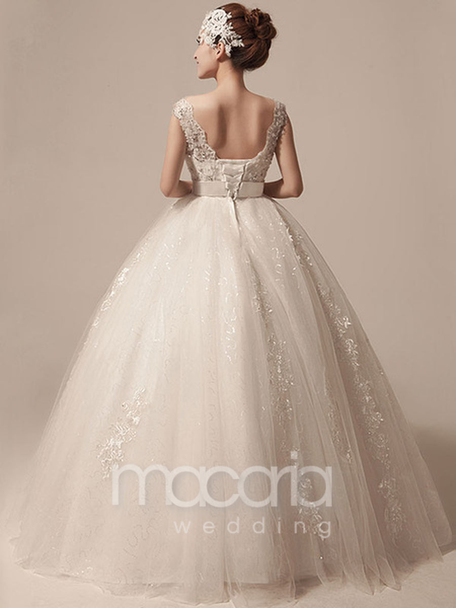 Beaded Bodice Tulle Ball Gown Wedding Dress - Macaria Wedding