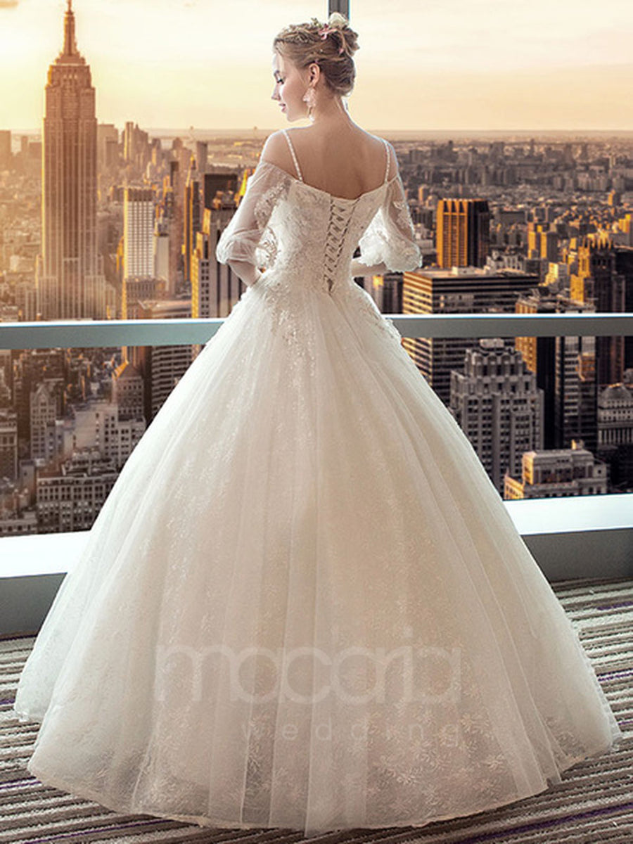 Floral Off the Shoulder Tulle Wedding Dress - Macaria Wedding