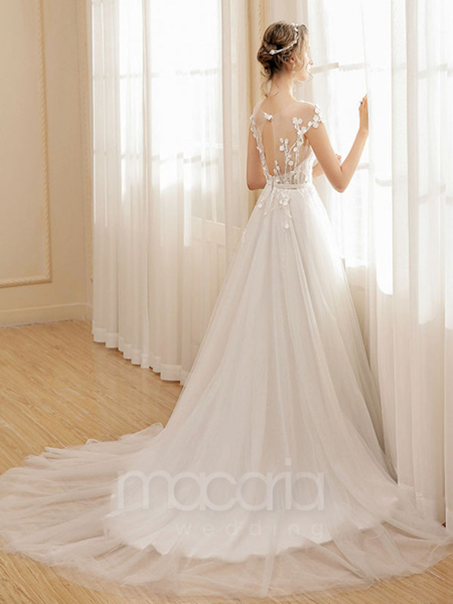 Floral Illusion Tulle Wedding Dress - Macaria Wedding