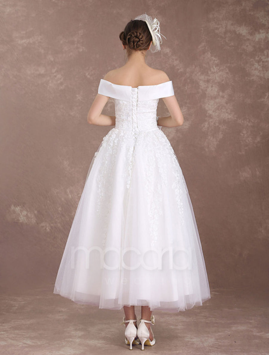 Vintage Inspired Tea Length Tulle Wedding Dress