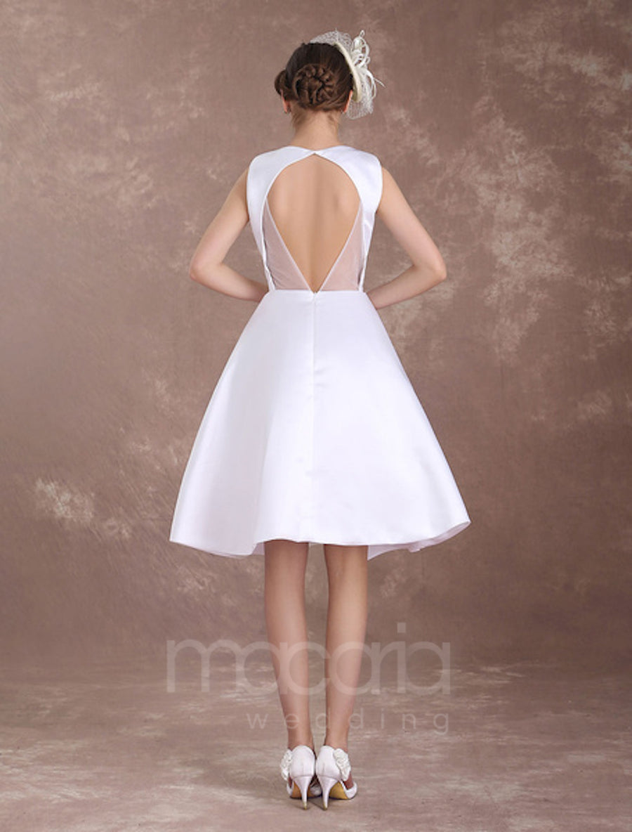 Vintage Inspired Backless Satin Knee Length Wedding Dress