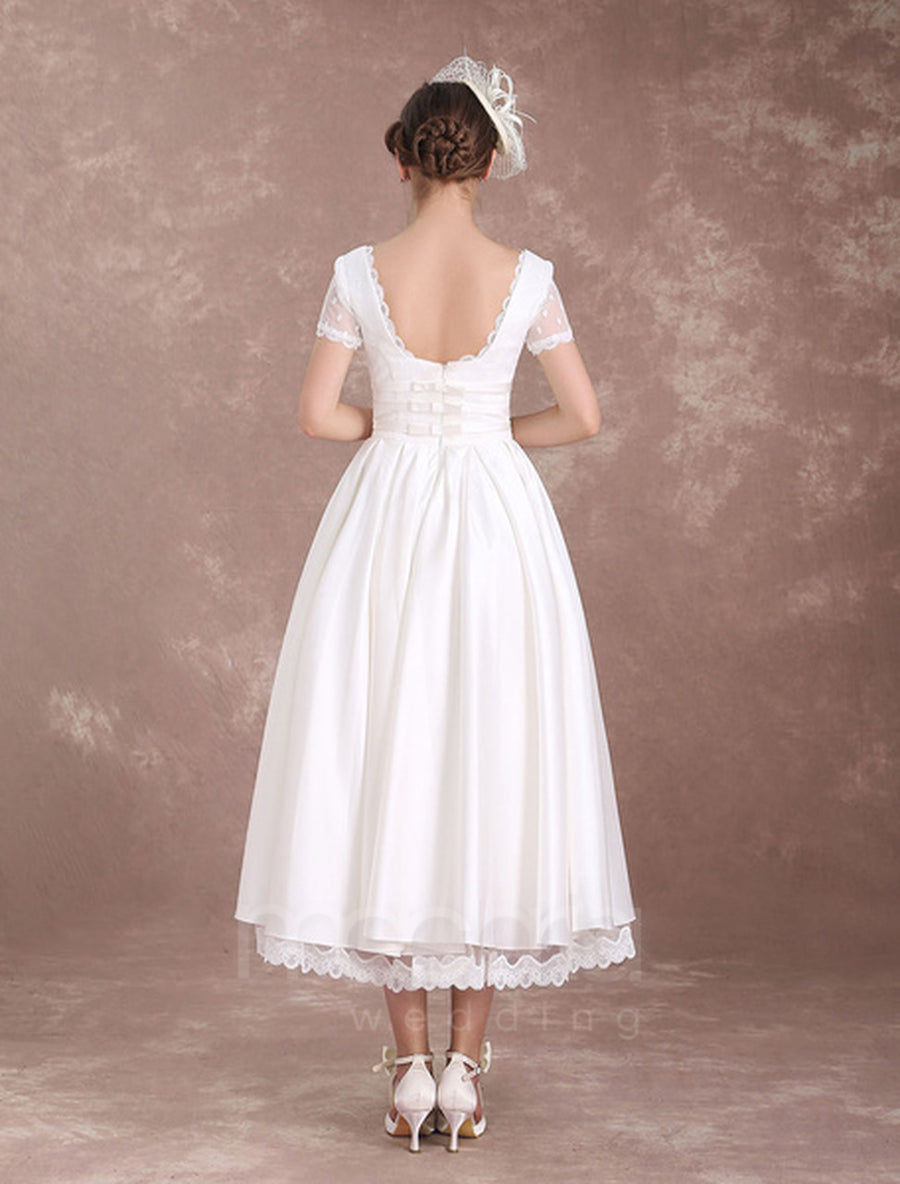 Vintage Inspired Lace Trip Satin Wedding Dress