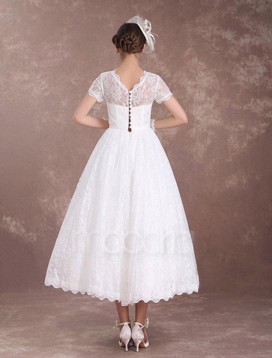 Vintage Inspired Lace Illusion Wedding Dress