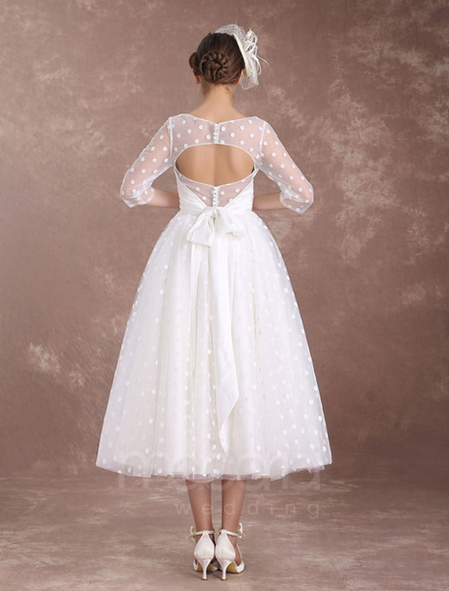Vintage Inspired Half Sleeves Tea Length Wedding Dress