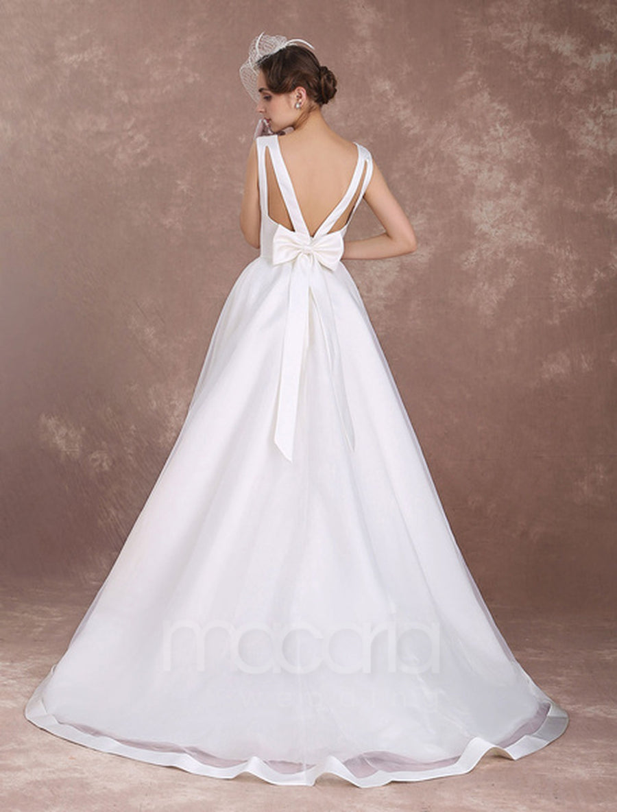 Backless Ruffles Organza High Low Wedding Dress - Macaria Wedding