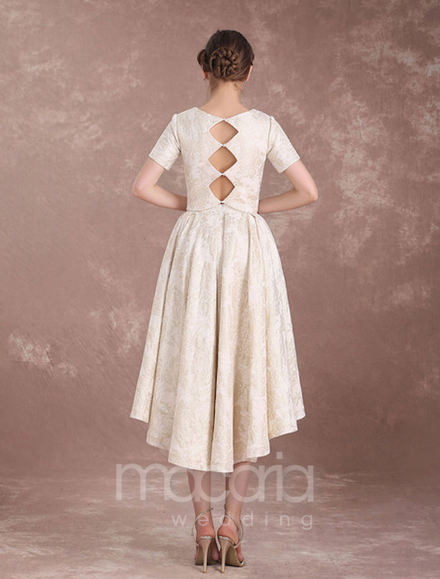 Short Sleeves Lace Jacquard Bridal Separates
