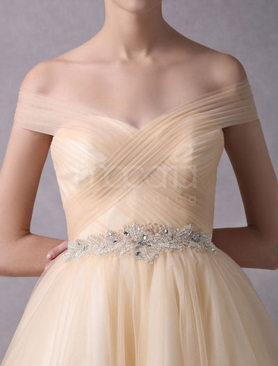 Off the Shoulder Beaded Tulle Tea Length Wedding Dress - Macaria Wedding