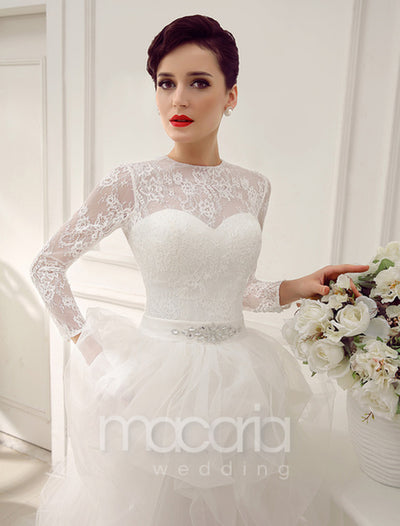 Convertible Long Sleeves Lace Wedding Dress - Macaria Wedding