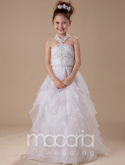 Halter Neck Tulle Ruffles Satin Flower Girl Dress - Macaria Wedding