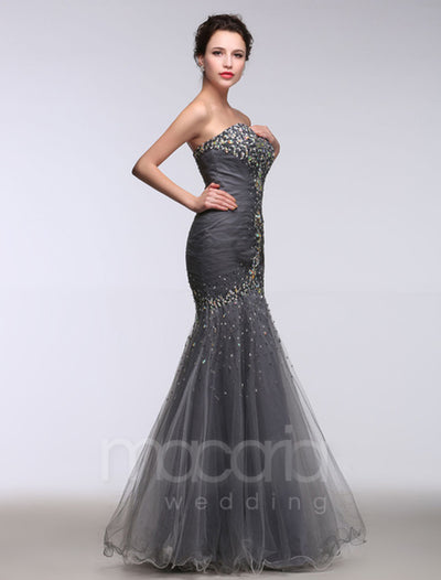Sweetheart Beading Tulle Trumpet Evening Dress
