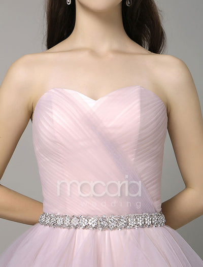 Sweetheart A-Line Sweep Train Pleated Tulle Evening Dress - Macaria Wedding