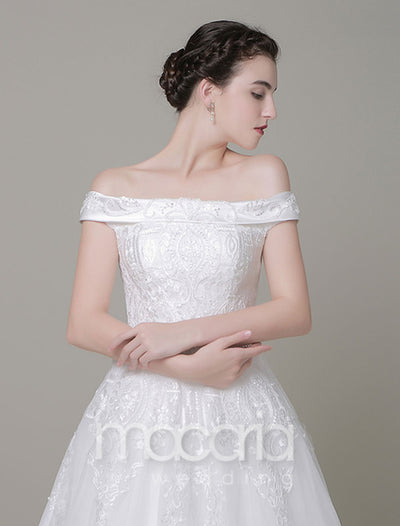 Off the Shoulder A-Line Lace Wedding Dress - Macaria Wedding