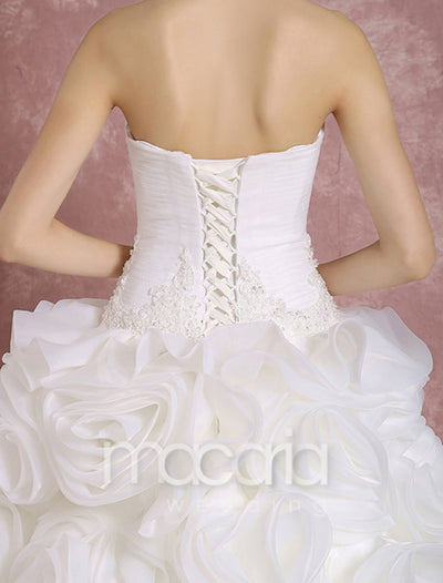Luxury 3D Flower Organza Strapless Bridal Wedding Dress - Macaria Wedding