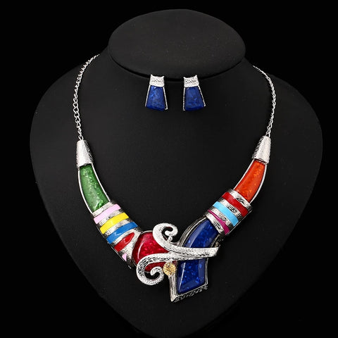 African Enamel Jewelry Set