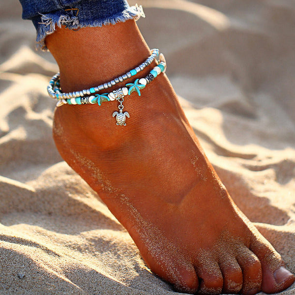 Bohemian Starfish & Turtle Love Anklet