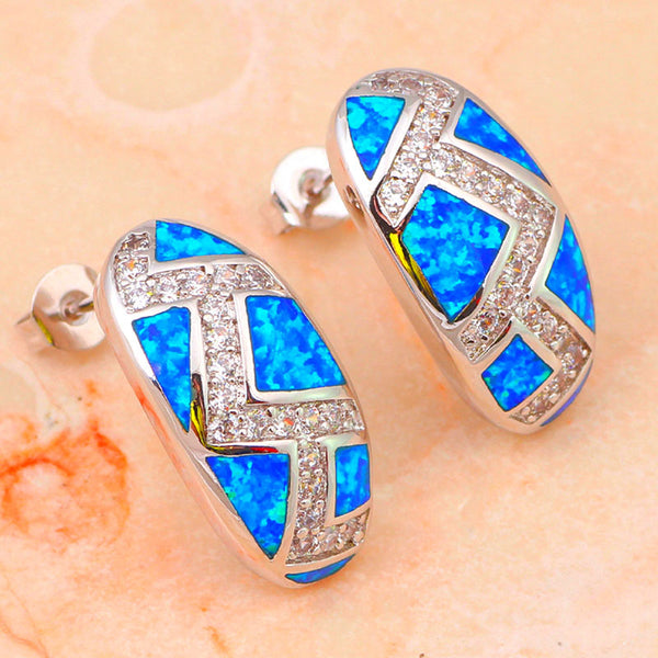 Blue Fire Opal Aztec Earrings