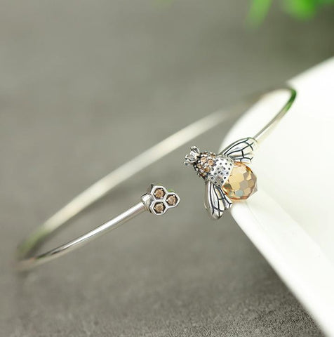 Crystal Drop Bee Bracelet