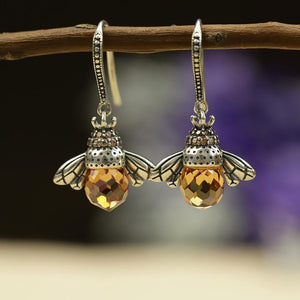 Crystal Drop Bee Earrings