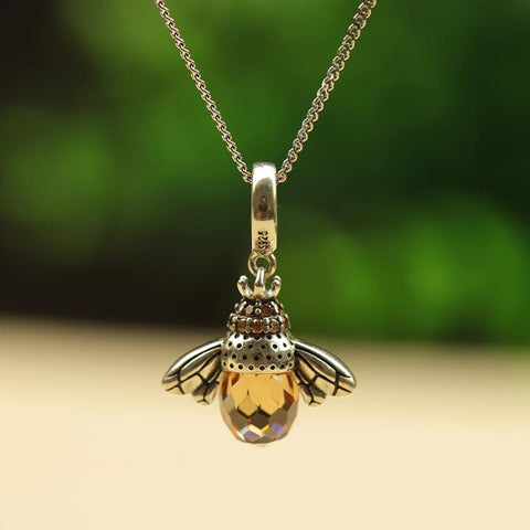 Crystal Drop Bee Necklace
