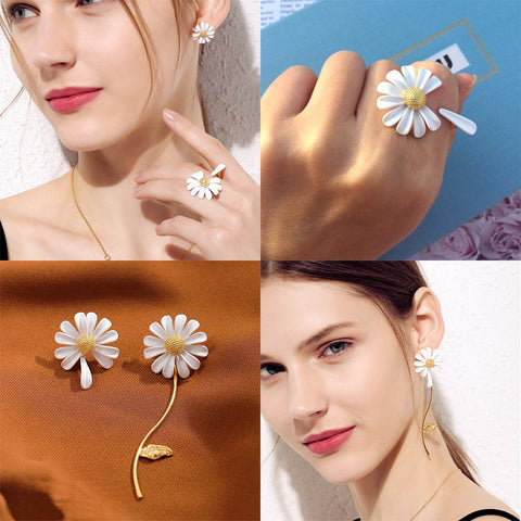 Daisy Flower Earrings & Ring Set