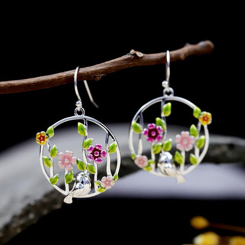 Blooming Flower Bird Earrings